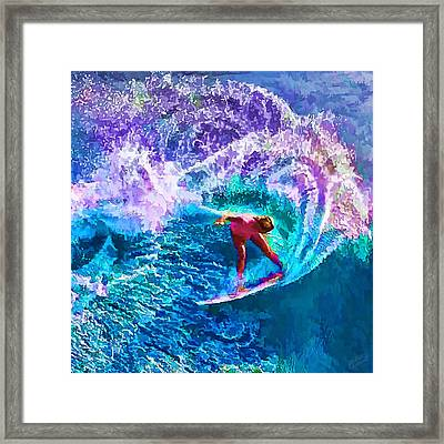 Surfs Like A Girl 1 Framed Print by Bill Caldwell -        ABeautifulSky Photography