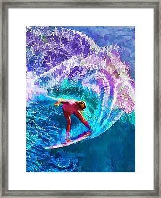 Surfs Like A Girl 2 Framed Print by Bill Caldwell -        ABeautifulSky Photography