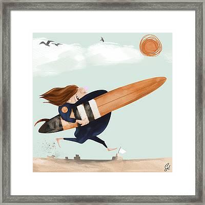 Surfs Up Framed Print by Steven Lombardi