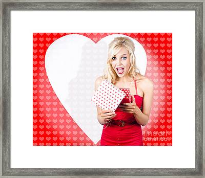 Surprised Attractive Girl With Heart Gift Box Framed Print by Jorgo Photography - Wall Art Gallery