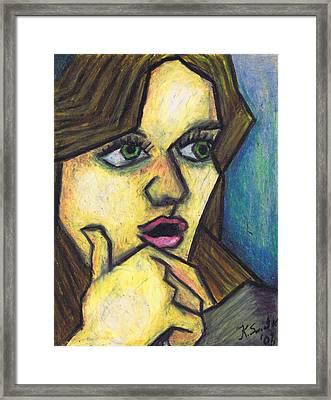 Surprised Girl Framed Print by Kamil Swiatek