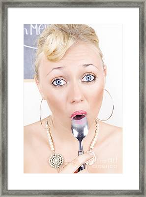 Surprised Pinup Woman Eating Dessert With Spoon Framed Print by Jorgo Photography - Wall Art Gallery