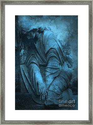 Surreal Cemetery Grave Mourner In Blue Sorrow  Framed Print by Kathy Fornal