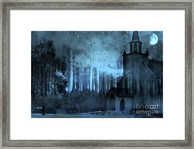 Surreal Church In Woods Blue Moon Starry Full Moon Night  Framed Print by Kathy Fornal