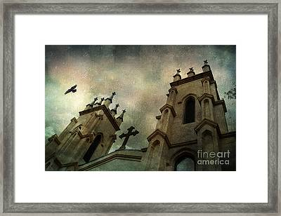 Surreal Ethereal Gothic Church With Cross - Haunting Church Architecture Framed Print by Kathy Fornal