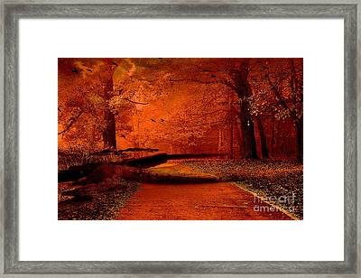 Surreal Fantasy Autumn Fall Orange Woods Nature Forest  Framed Print by Kathy Fornal