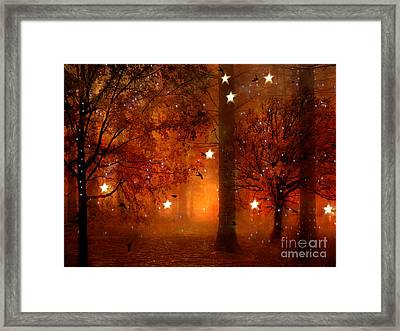 Surreal Fantasy Autumn Woodlands Starry Night Framed Print by Kathy Fornal