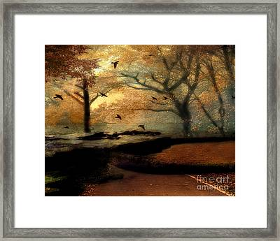 Surreal Fantasy Haunting Autumn Trees Ravens Framed Print by Kathy Fornal