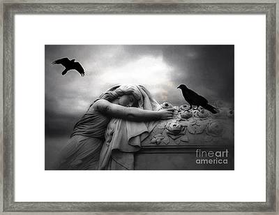 Surreal Gothic Cemetery Angel Mourning Figure With Black Ravens  Framed Print by Kathy Fornal