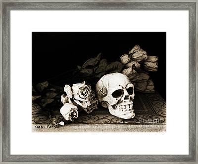 Surreal Gothic Dark Sepia Roses And Skull  Framed Print by Kathy Fornal