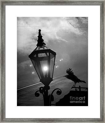 Surreal Gothic Raven With Night Stars Lantern - Haunting Raven Black And White Night Lights Framed Print by Kathy Fornal