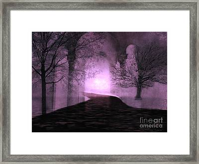 Surreal Purple Fantasy Nature Path Trees Landscape  Framed Print by Kathy Fornal