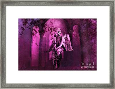 Surreal Sad Gothic Angel Purple Pink Nature - Haunting Sad Angel In Woods Framed Print by Kathy Fornal