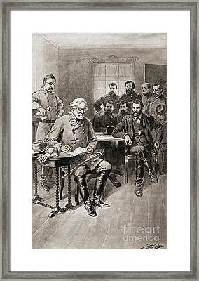 Surrender Of Robert E Lee To General Ulysses S Grant, Appomattox Court House,virginia Framed Print by American School