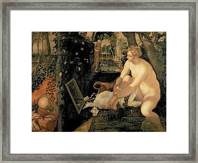 Susanna Bathing Framed Print by Jacopo Robusti Tintoretto