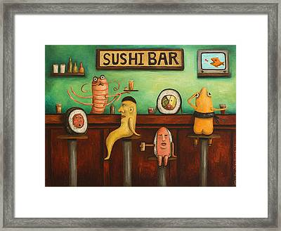 Sushi Bar Darker Tone Image Framed Print by Leah Saulnier The Painting Maniac