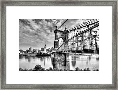Suspension Bridge At Cincinnati Bw Framed Print by Mel Steinhauer