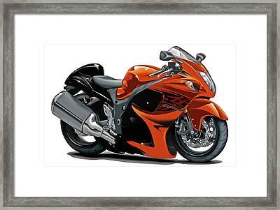Suzuki Hayabusa Orange Bike Framed Print by Maddmax