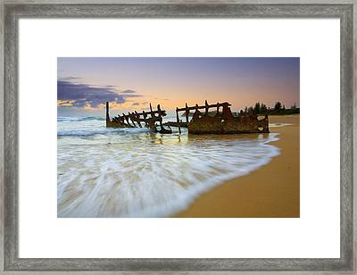 Swallowed By The Tides Framed Print by Mike  Dawson