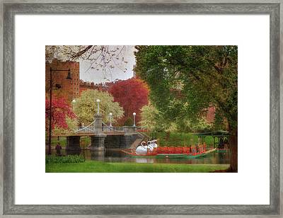 Swan Boats In The Lagoon - Boston Public Garden Framed Print by Joann Vitali
