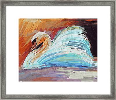 Swan Colorful Framed Print by Yury Malkov