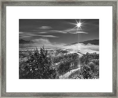 Swan Valley Winter Black And White Framed Print by Leland D Howard