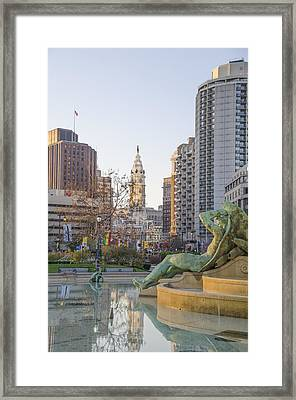 Swann Fountain Reflections - Philadelphia Framed Print by Bill Cannon