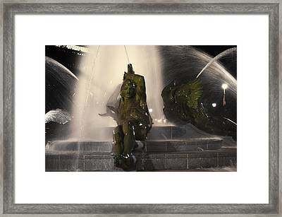 Swann Fountain - Splashing In The Light Framed Print by Bill Cannon