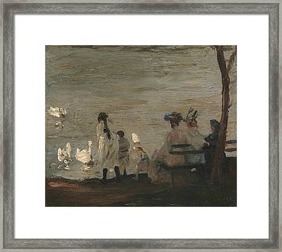 Swans In Central Park Framed Print by George Bellows