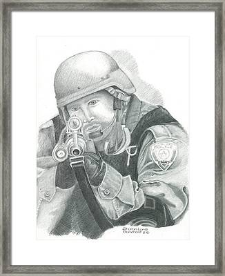 S.w.a.t. At The Ready Framed Print by Sharon Blanchard