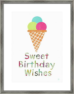 Sweet Birthday Wishes- Art By Linda Woods Framed Print by Linda Woods