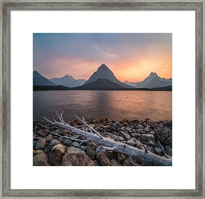 Sunset // Swift Current Lake, Glacier National Park  Framed Print by Nicholas Parker