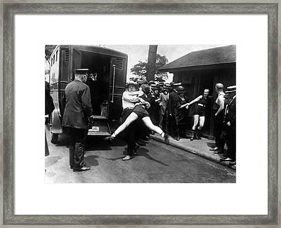 Swim Suit Paddy Wagon Arrest C. 1922 Framed Print by Daniel Hagerman