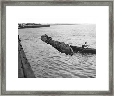 Swimmer And Escape Artist Framed Print by Underwood Archives