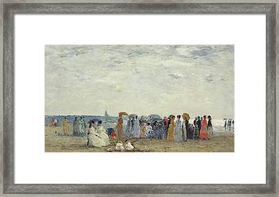 Swimmers On Trouville Beach Framed Print by Eugene Louis Boudin