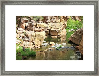 Swimming Hole At Slide Rock Framed Print by Carol Groenen