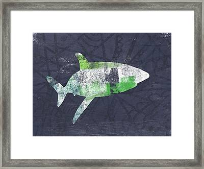 Swimming With Sharks 2- Art By Linda Woods Framed Print by Linda Woods