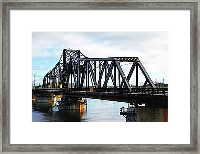 Swing Bridge Framed Print by Debbie Oppermann