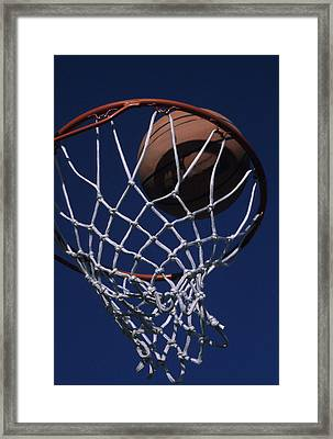 Swish.  A Basketball Framed Print by Stacy Gold