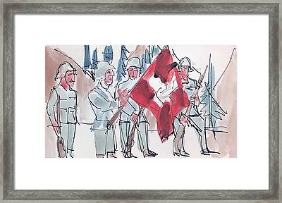 Swiss Soldiers With Flag Framed Print by Ernst Ludwig Kirchner