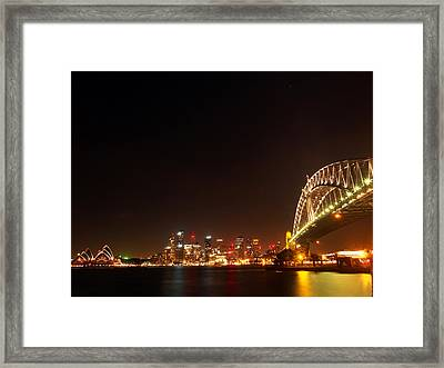 Sydney By Night Framed Print by Justin Woodhouse