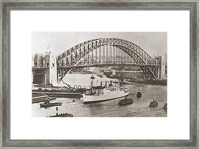 Sydney Harbour Bridge, Sydney Framed Print by Vintage Design Pics