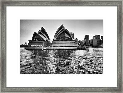 Sydney Opera House-black And White Framed Print by Douglas Barnard