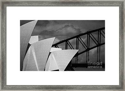 Sydney Opera House With Harbour Bridge Framed Print by Avalon Fine Art Photography