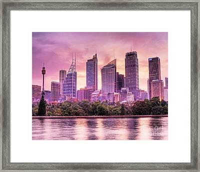 Sydney Tower Skyline At Sunset Framed Print by Chris Smith