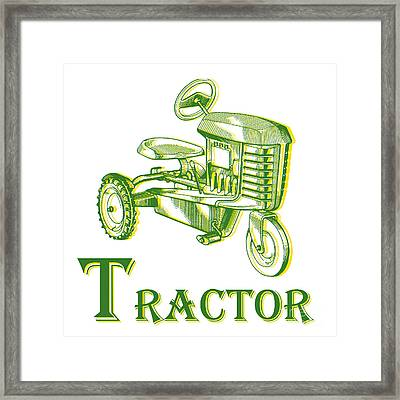 T Is For Tractor Framed Print by Edward Fielding
