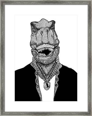 T Rex The Awesome Dinosaur Framed Print by Karl Addison