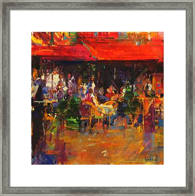 Table At Villefranche Framed Print by Peter Graham