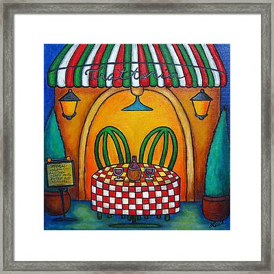 Table For Two At The Trattoria Framed Print by Lisa  Lorenz