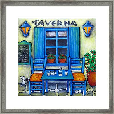 Table For Two In Greece Framed Print by Lisa  Lorenz